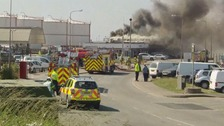 Jersey emergency services battle blaze at La Collette