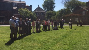 People gathered at Carlisle Cathedral to observe a minute's silence for victims of the Manchester attack