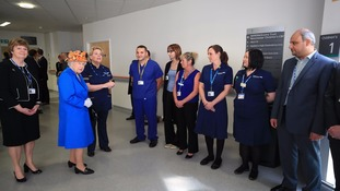 The Queen meets staff who worked through the night following Monday's attack.