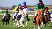 Competitors at the Shetland Pony Grand National in Newmarket last year.