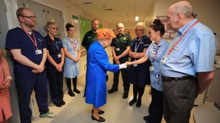 The Queen meets staff who worked through the night on Monday