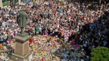St Anne's Square, Manchester, where people have left tributes to the victims