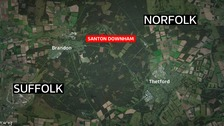 Fire crews are at the scene of a large heath fire in Thetford Forest.
