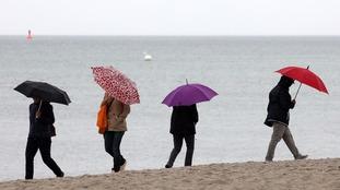 Umbrellas on a beach.