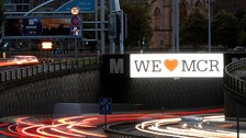 "A ""We love Manchester"" sign on the Mancunian Way"