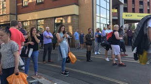 Crowds waiting for information in Newport city centre
