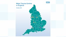 Map of major trauma centres in England