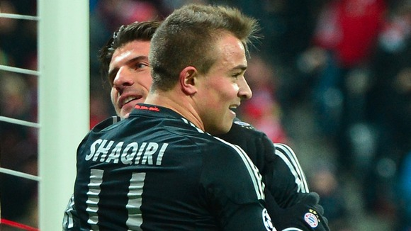 Bayern's Mario Gomez and Xherdan Shaqiri celebrate after scoring against FC Bate Borisov
