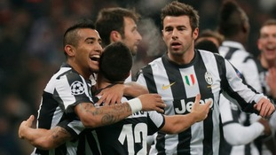 Juventus players celebrate after scoring against Shakhtar Donetsk during the Group E game at Donbas Arena