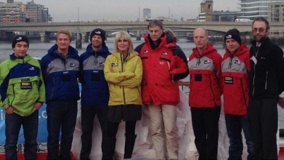Ranulph Fiennes and his ice team, joined by supporter Joanna Lumley, at their send-off in London