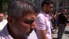 Boxer Amir Khan lays flowers in St Ann's Square to commemorate victims of Manchester Arena Bombing