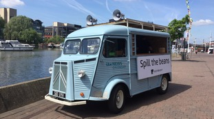 The Spill the Beans van at Brayford Pool in Lincoln.