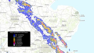 Rainfall radar image taken at 9.35 am showing a narrow band of thunderstorms crossing the region.