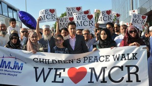 Hundreds of Muslim children and their families organise peace march from mosque to Manchester Arena