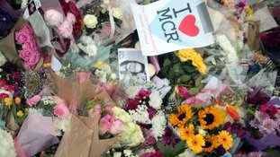 Flowers laid at Albert Square Manchester