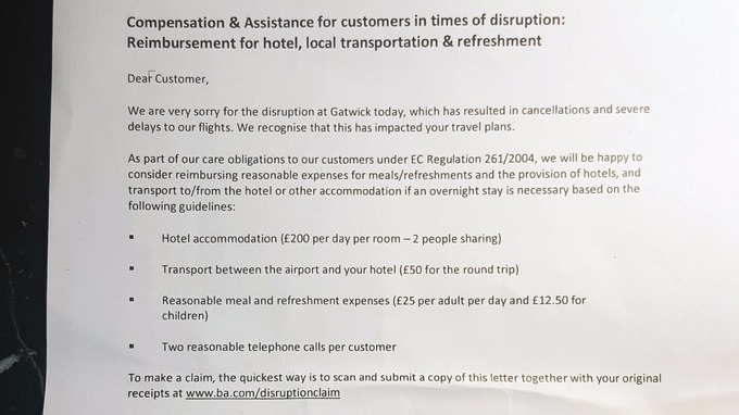 British airways it crash advice for passengers itv news a copy of a letter handed out to passengers altavistaventures Image collections