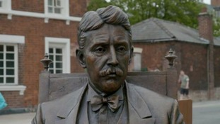Passersby can see a two-metre-high bronze sculpture of the novelist and playwright.