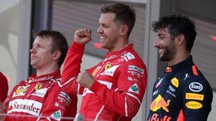 Vettel celebrates his win