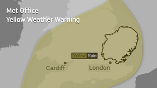 The area covered by the yellow weather warning on Sunday and Monday.