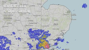 Some heavy showers were already moving into the south of the Anglia region on Sunday afternoon.