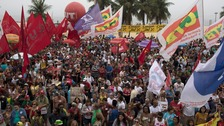 Thousands took to Copacabana Beach in protest.
