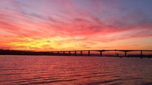 The Orwell Bridge near Ipswich at dusk last week.