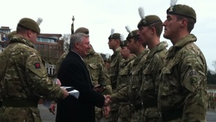 1st Battalion The Royal Welsh march through the city of Chester