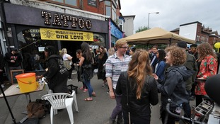 Some of the queues for the bee tattoos
