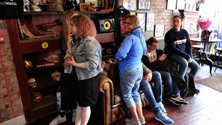 Customers waiting to get their Manchester ink