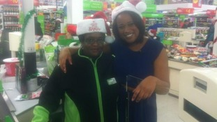 Charlene White in charity bag pack