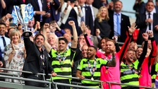 David Wagner celebrates the victory over Reading.