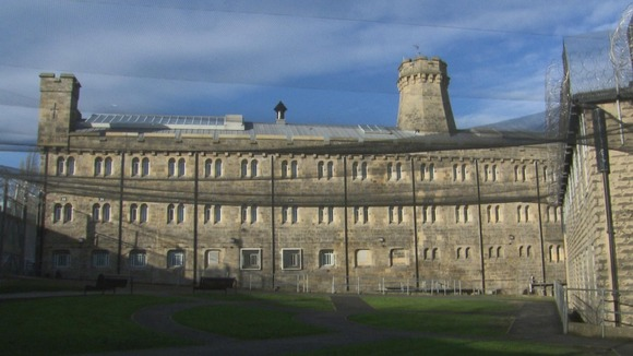 Wide shot of a prison