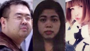 Victim Kim Jong Nam and accused Siti Aisyah and Doan Thi Huong.