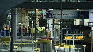 The emergency services at Manchester Victoria following the attack.