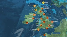 Sunshine in the south and east, with outbreaks of rain in the north and west.