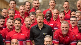 Prince Harry joined the 90 competitors at the official team unveiling at the Tower of London.