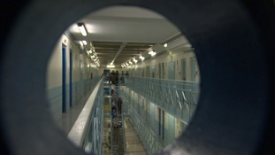 Prison atrium seen through peep hole