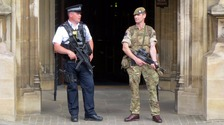The military bolstered security at key locations as the national terror threat was raised to critical.