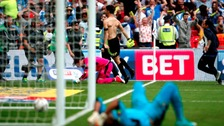 Schindler celebrates after scoring the winning penalty