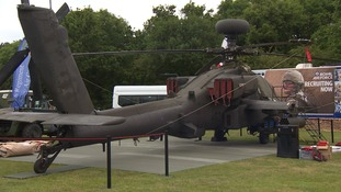 The helicopter landed yesterday.