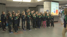 The pupils arrived back in Northern Ireland on Tuesday.
