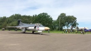 The newly-repainted Blackburn Buccaneer was unveiled at Yorkshire Air Museum