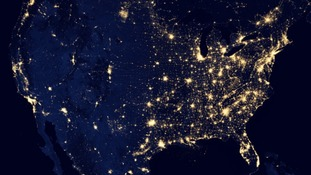 Image of the United States at night
