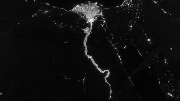 An image of the Nile river at night