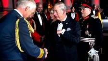 The Prince of Wales and The Duchess of Cornwall are greeted by Air Chief Marshal Stephen Dalton