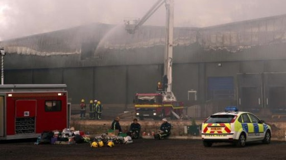 Fire at a warehouse on an industrial estate in Atherstone On Stour, Warwickshire. Saturday November 3, 2007