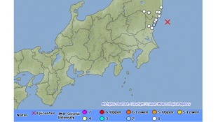 Map showing aftershocks with a red cross marking the epicentre of the quake
