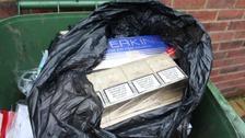 Cigarettes seized from bin