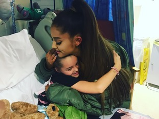 Ariana Grande with Lily Harrison, aged eight.