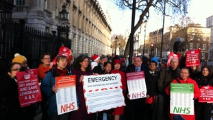 Protest against plans to close Lewisham's Accident and Emergency department.